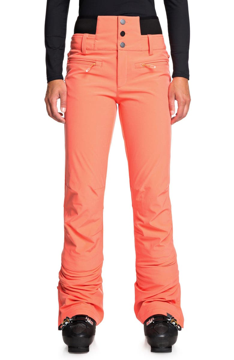 ROXY Rising High Snow Pants, Main, color, LIVING CORAL