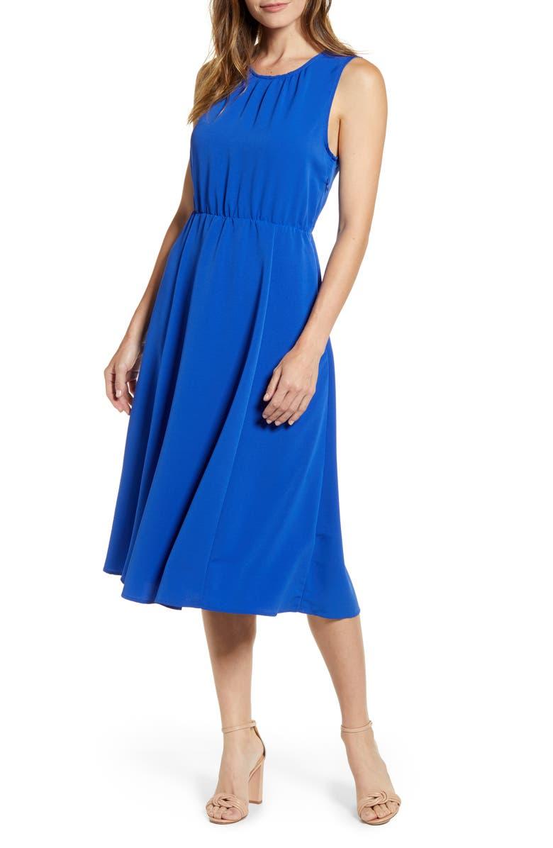 BOBEAU Francis Tie Back Midi Dress, Main, color, CLASSIC BLUE