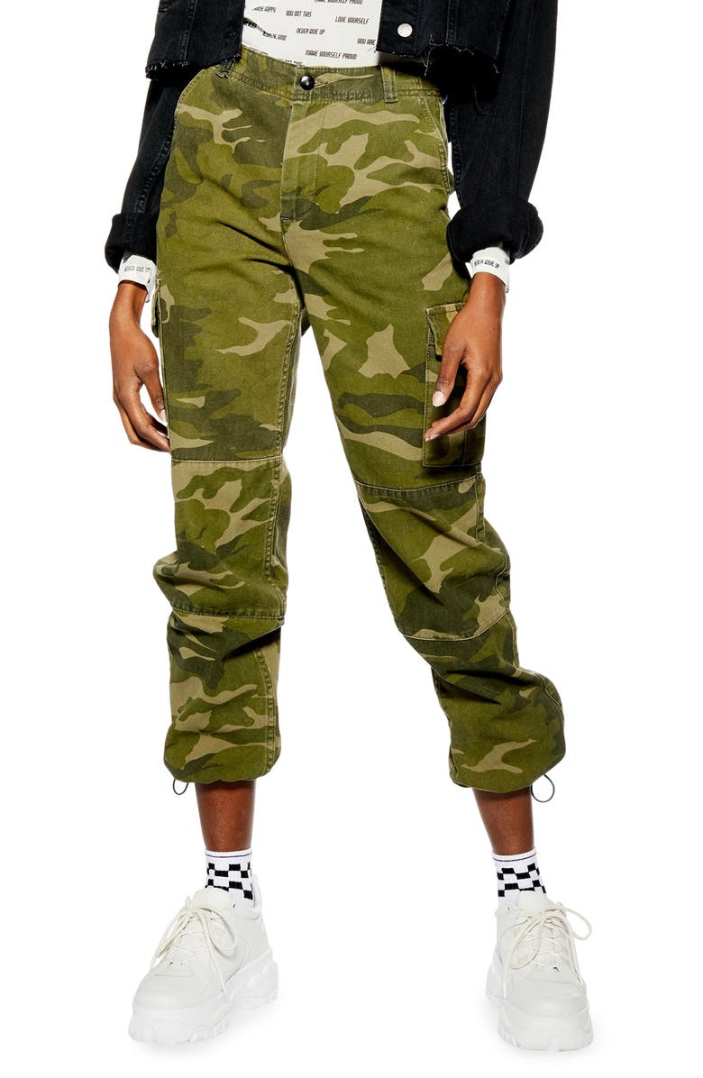 Frida Cropped Camouflage Trousers by Topshop