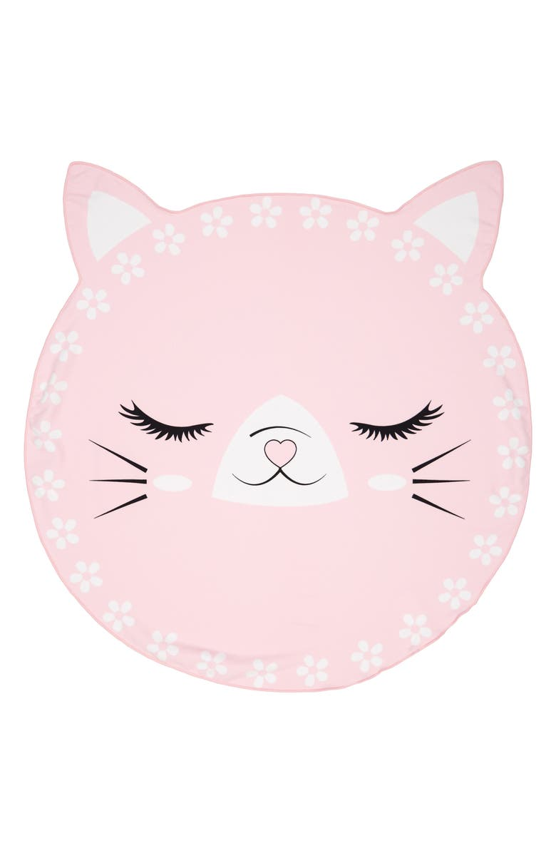 UNDER ONE SKY Cat Round Beach Towel, Main, color, PINK CAT
