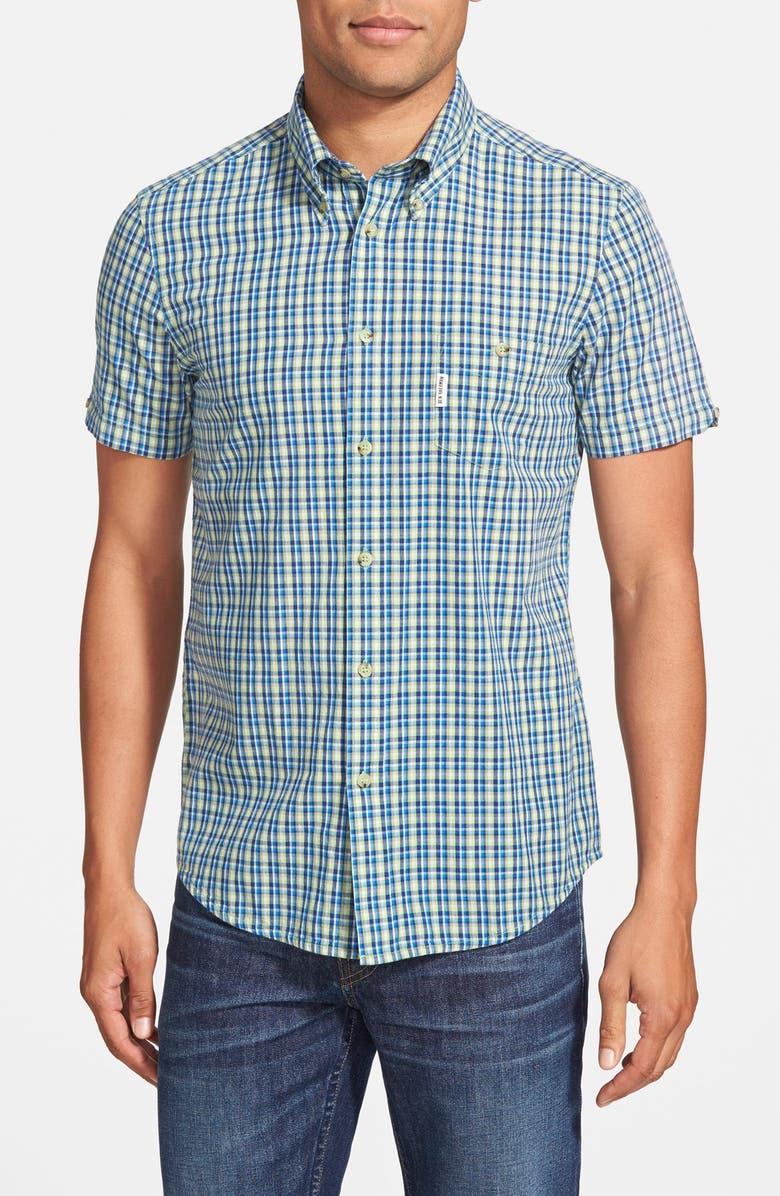 BEN SHERMAN Mod Fit Short Sleeve Plaid Woven Shirt, Main, color, 321