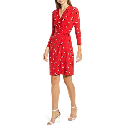 Anne Klein Chatterly Rose Classic Long Sleeve Wrap Dress, Red