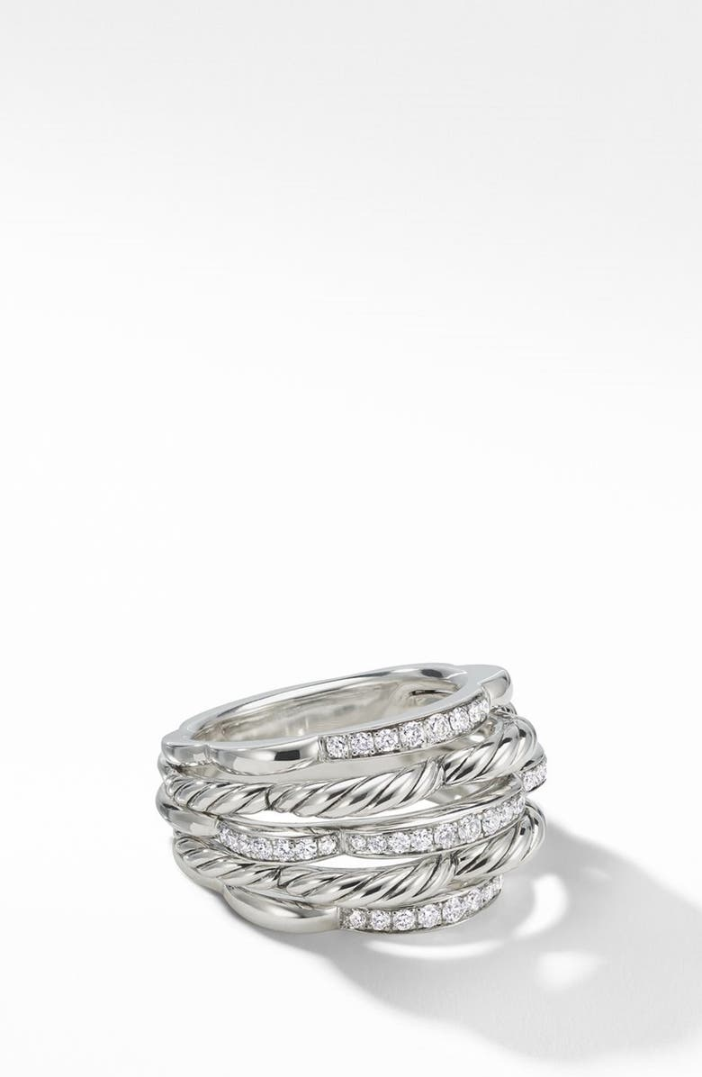 DAVID YURMAN Tides Dome Ring with Diamonds, Main, color, STERLING SILVER/ DIAMOND