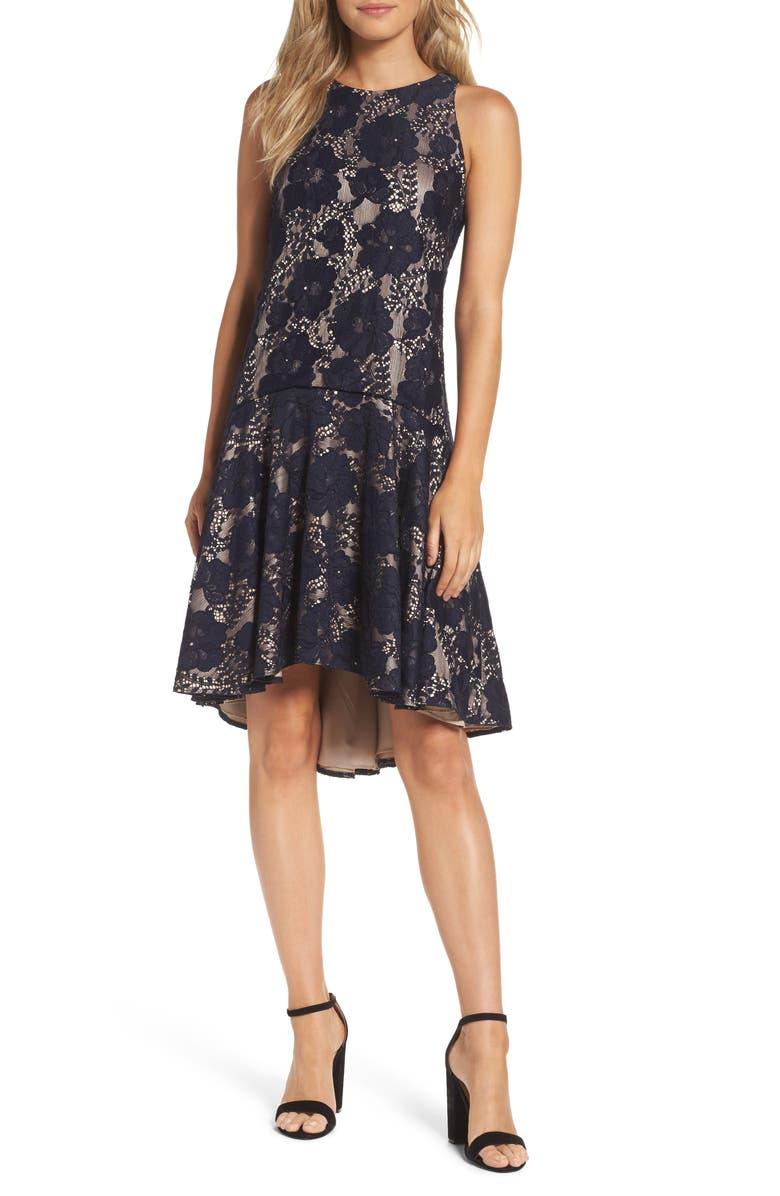 ELIZA J Sleeveless Lace Drop Waist High/Low Dress, Main, color, 410