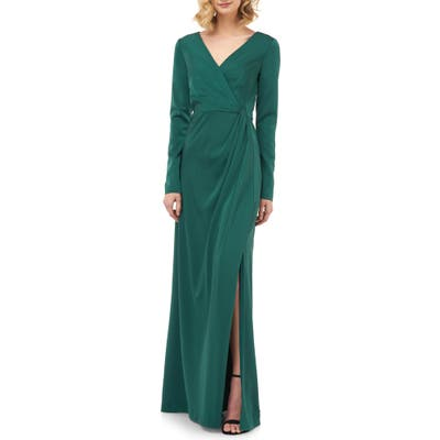 Kay Unger Adelina Long Sleeve Evening Gown, Green