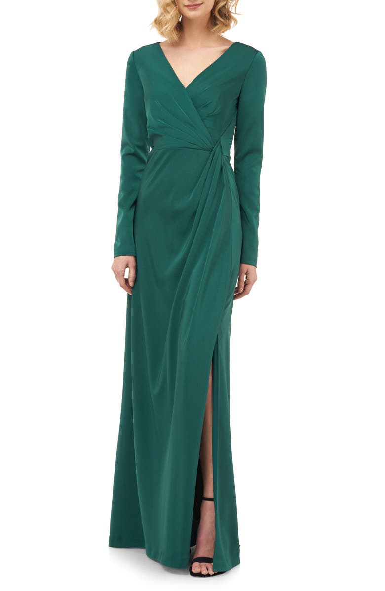 KAY UNGER Adelina Long Sleeve Evening Gown, Main, color, EMERALD