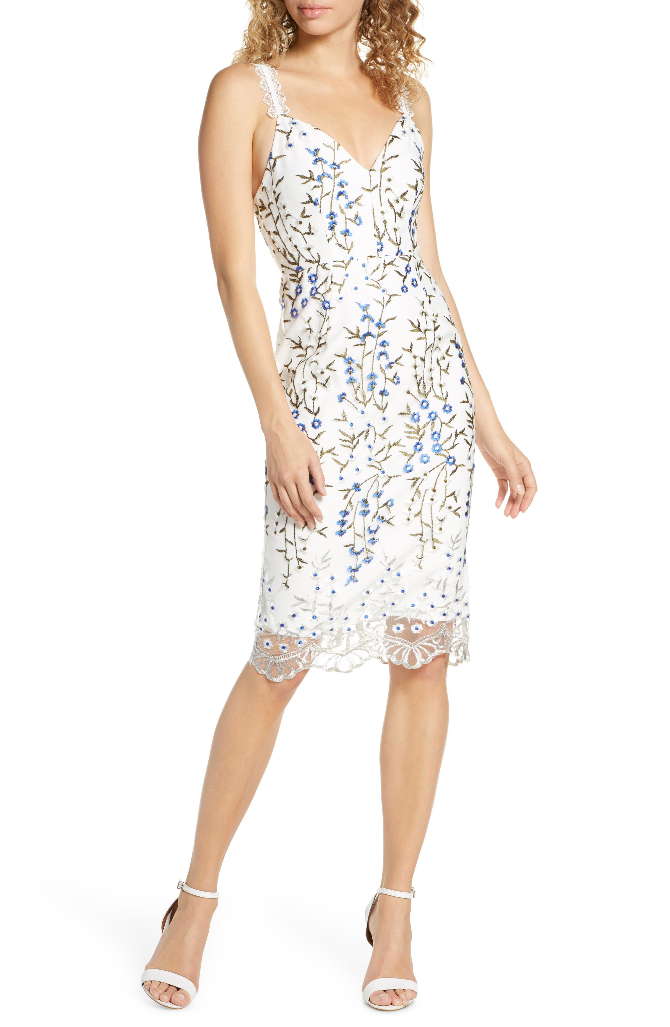 Bronx And Banco Poppy White Embroidered Floral Dress, White