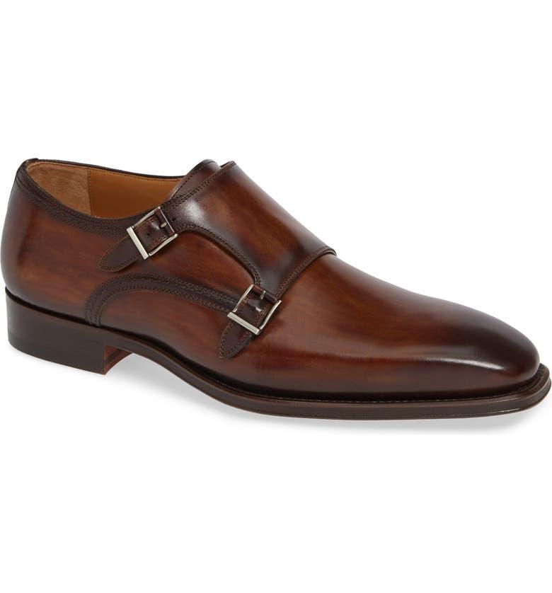 MAGNANNI Landon Double Strap Monk Shoe, Main, color, TOBACCO LEATHER