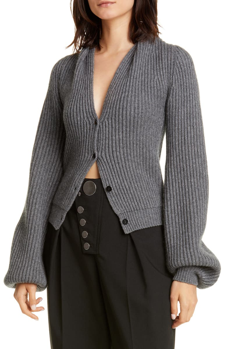 ALEXANDER WANG Ribbed Wool & Cashmere Blend Cardigan, Main, color, HEATHER GREY