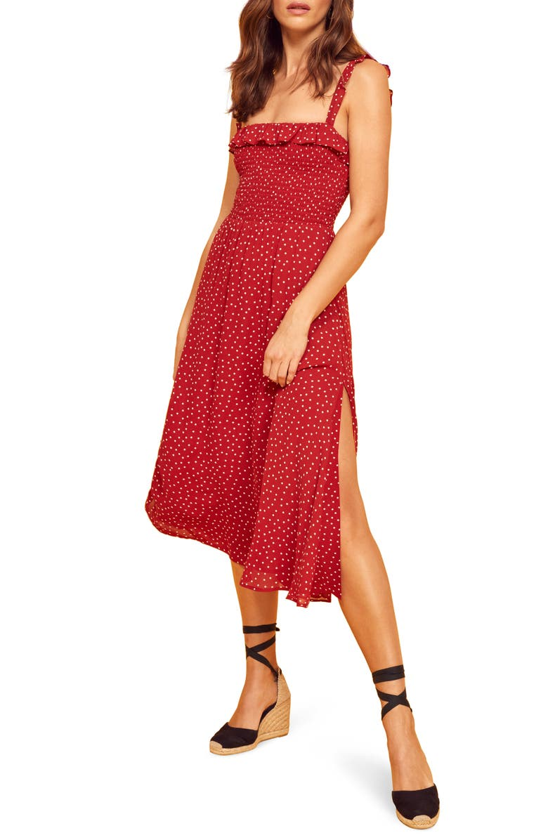 REFORMATION Siesta Midi Dress, Main, color, DITTY