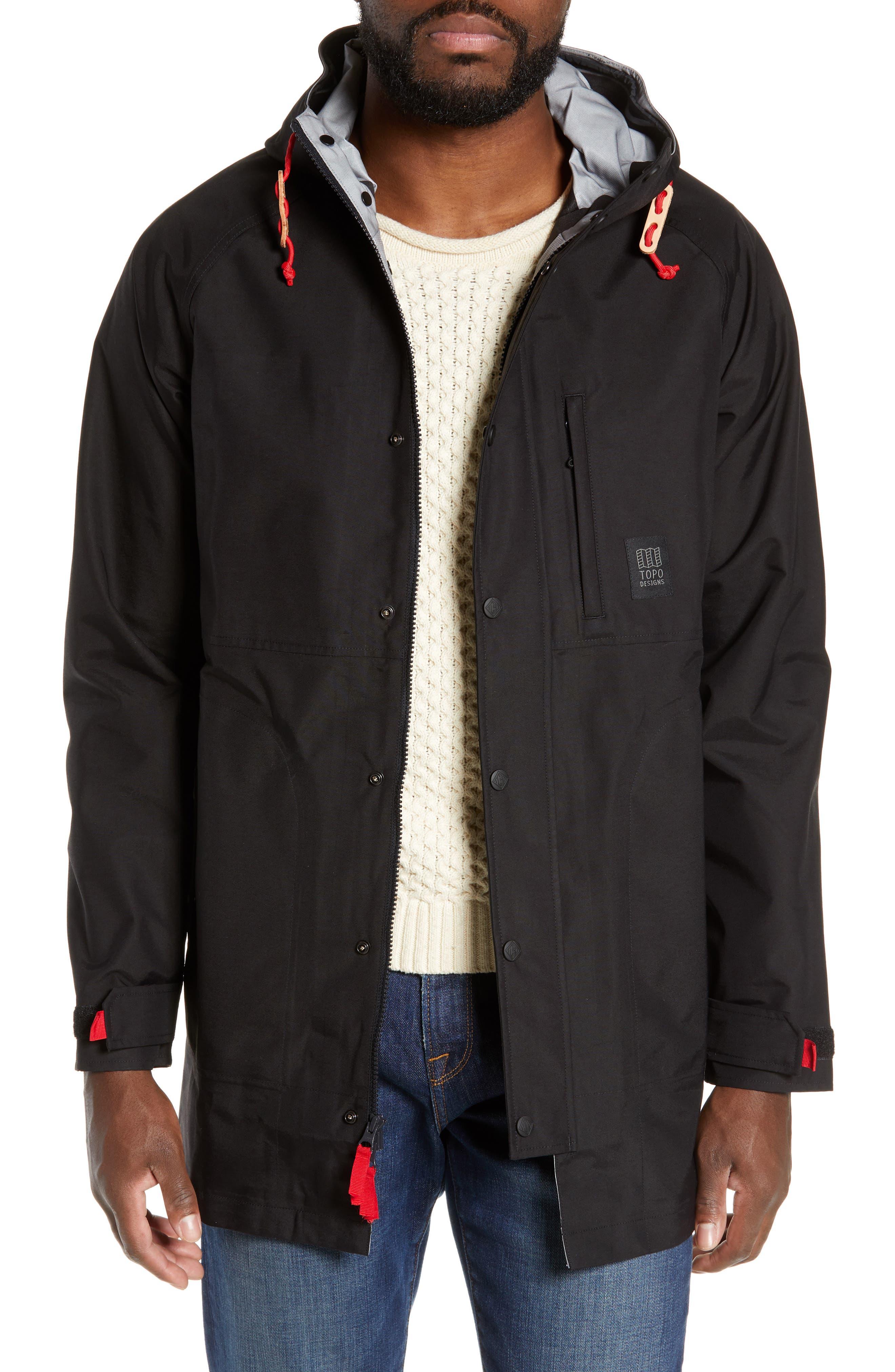 Topo Designs Waterproof Rain Jacket, Black