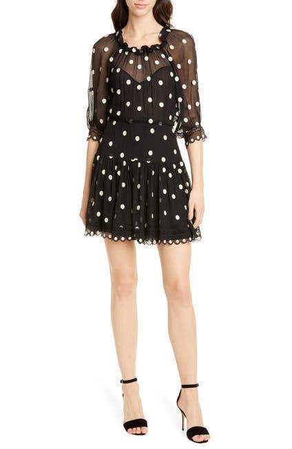 Image of Rebecca Taylor Polka Dot Lace Trim Silk Chiffon Dress
