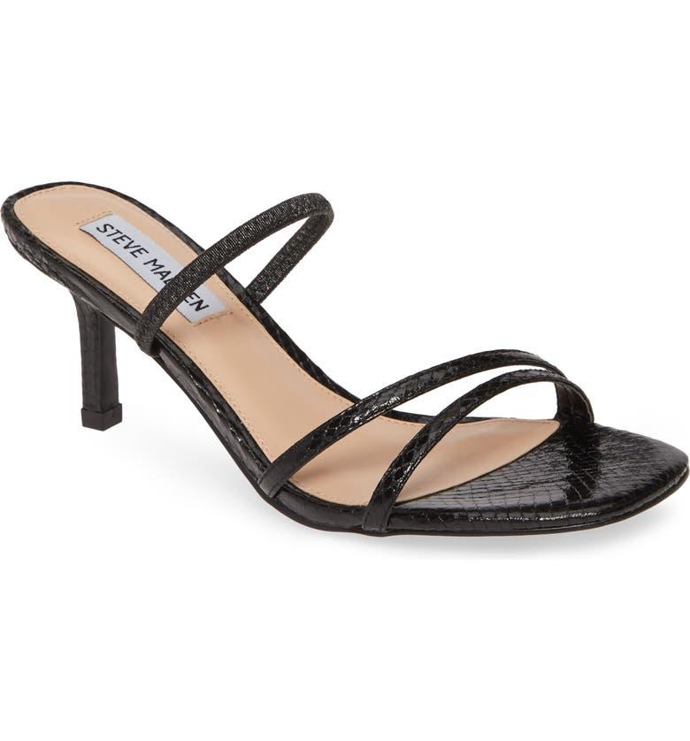 STEVE MADDEN Loft Slide Sandal, Main, color, BLACK SNAKE PRINT