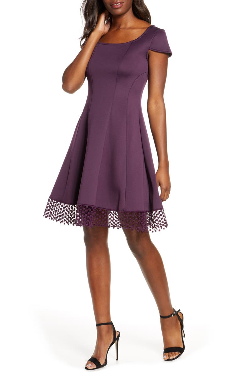 DONNA RICCO Lace Trim Fit & Flare Dress, Main, color, DEEP PURPLE