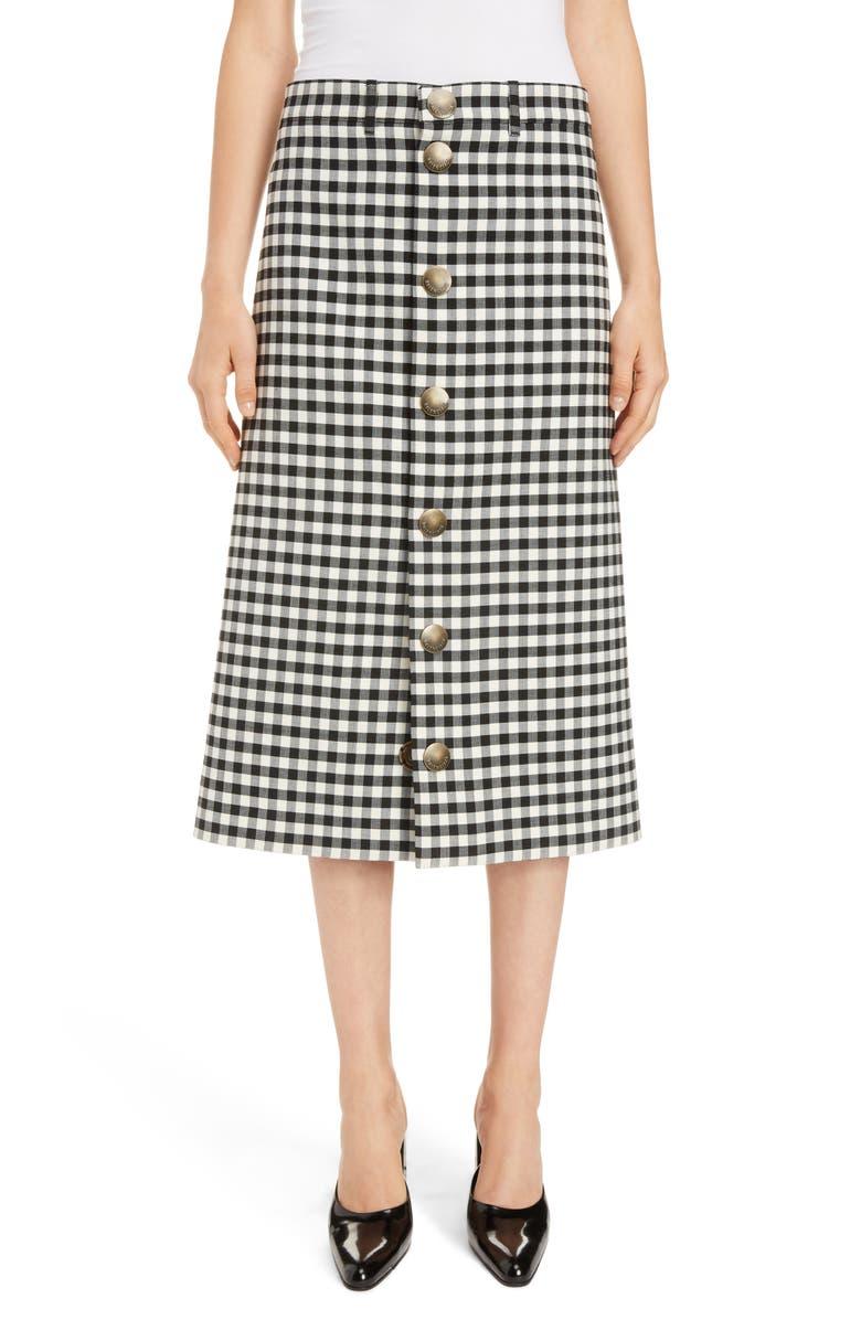 BALENCIAGA Snap Front Vichy Skirt, Main, color, 001