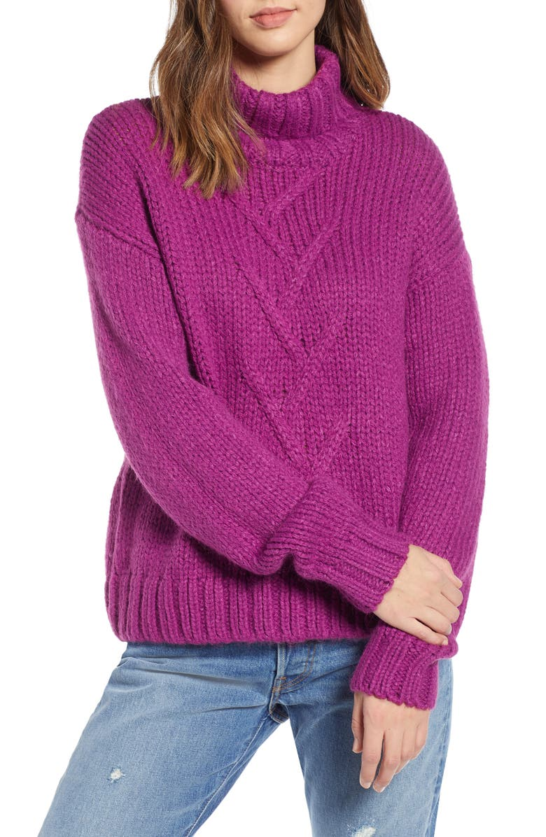 NOISY MAY Kira Turtleneck Sweater, Main, color, 020