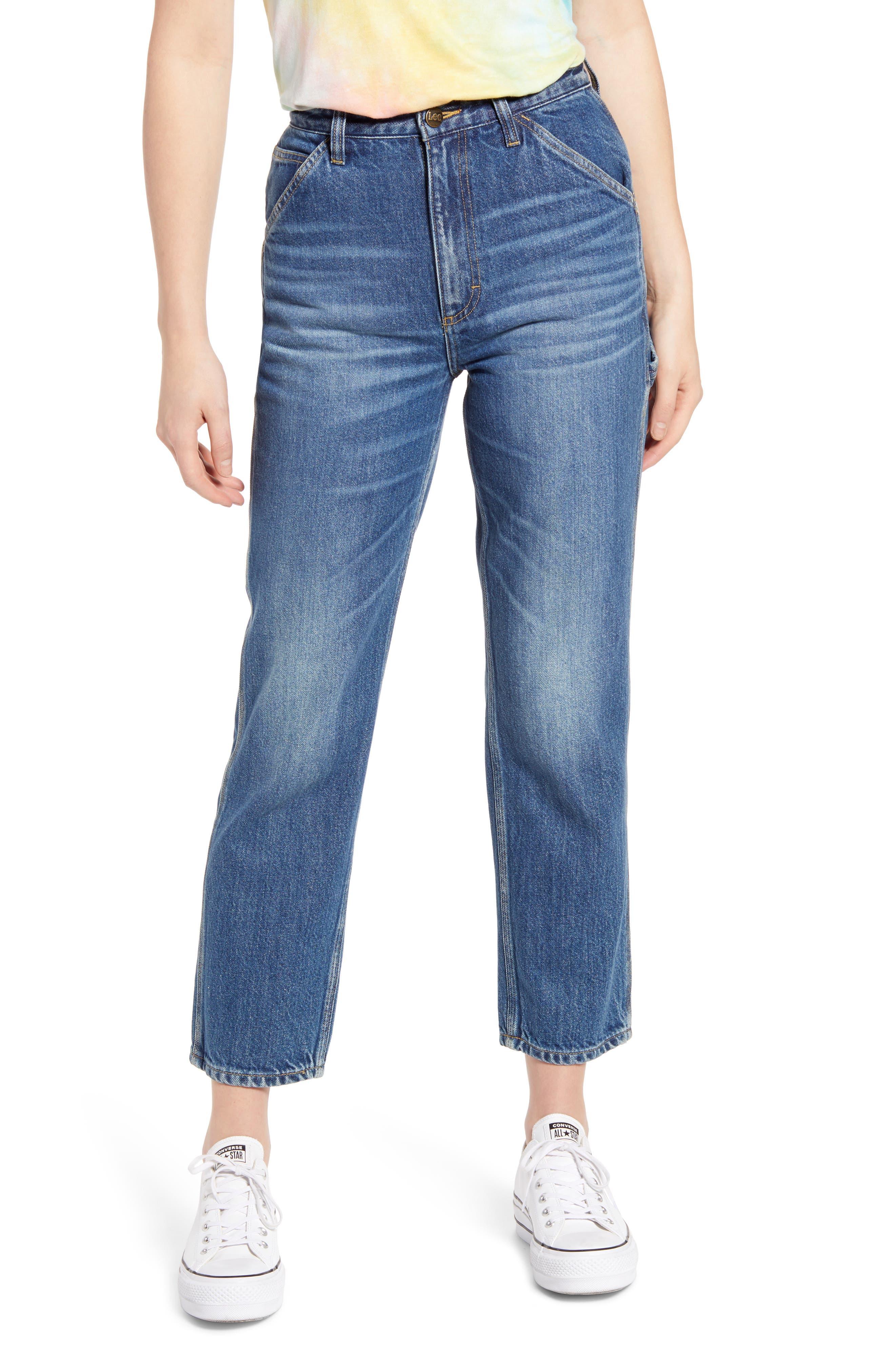 High Waist Crop Carpenter Jeans