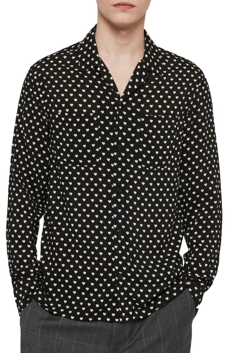 ALLSAINTS Valentine Slim Fit Heart Print Button-Up Shirt, Main, color, JET BLACK/ ECRU