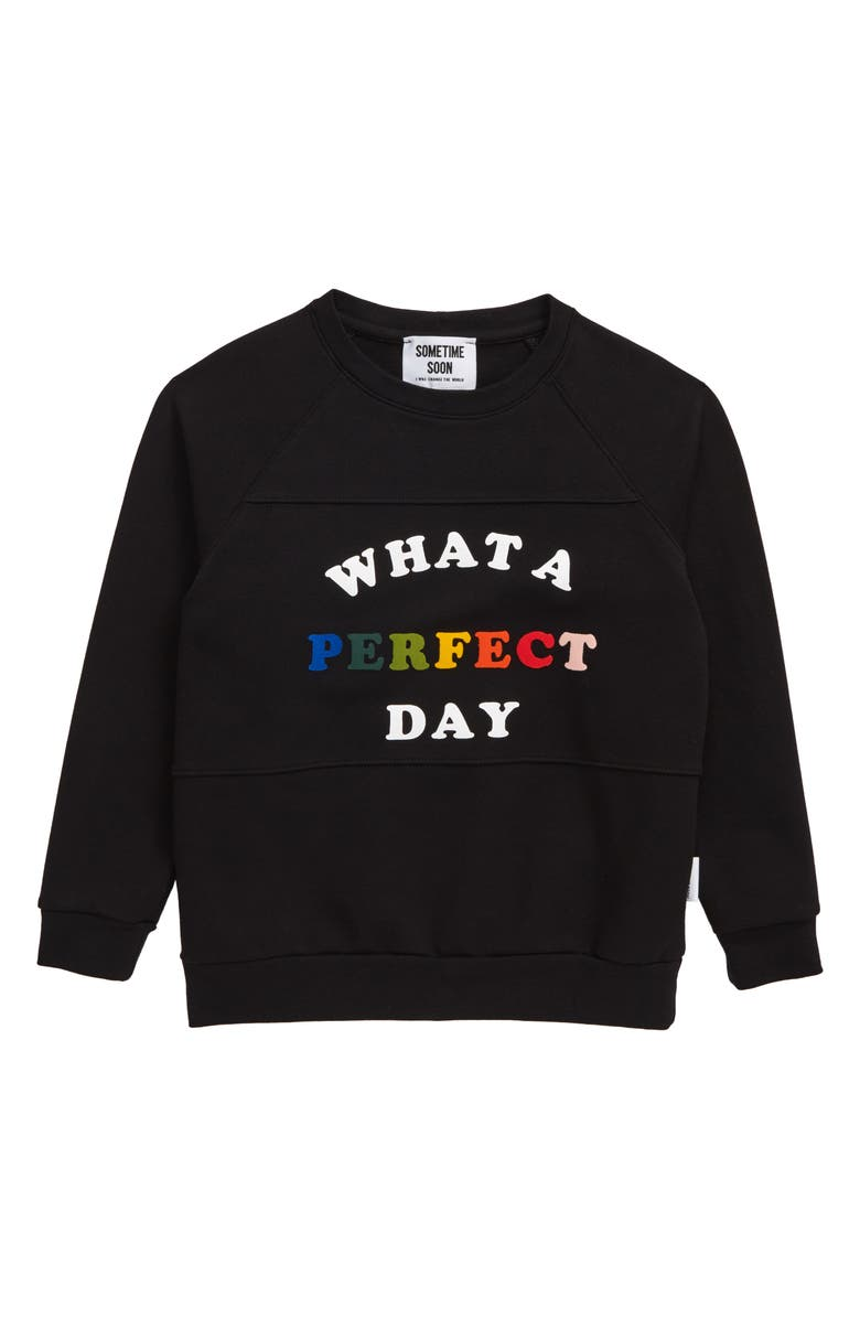 SOMETIME SOON Perfect Day Graphic Stretch Organic Cotton Sweatshirt, Main, color, BLACK