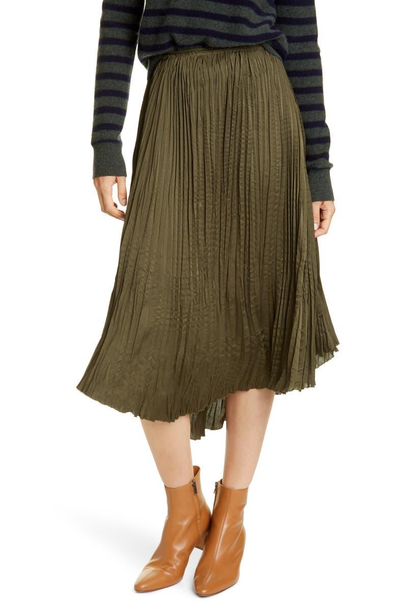 VINCE Crushed Drape Skirt, Main, color, MINERAL PINE
