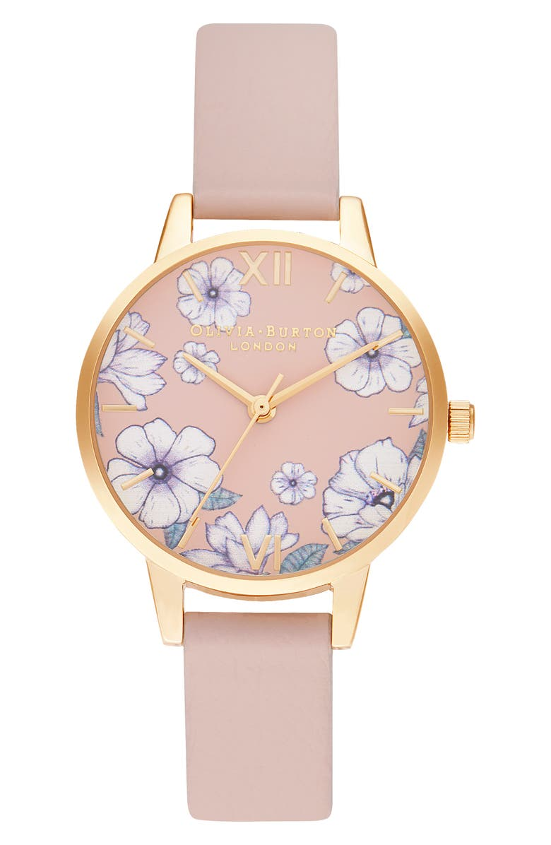 OLIVIA BURTON Groovy Blooms Faux Leather Strap Watch, 30mm, Main, color, PINK/ FLORAL/ GOLD