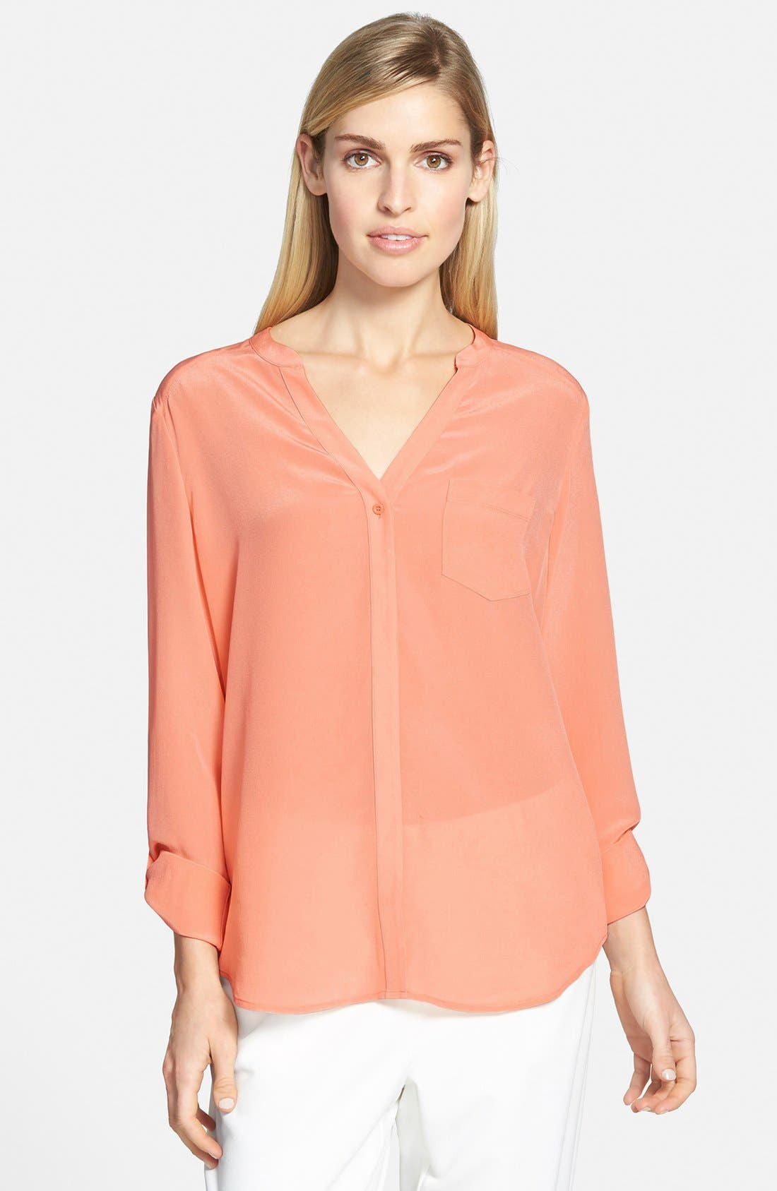 ,                             Collarless Silk Blouse,                             Main thumbnail 82, color,                             950