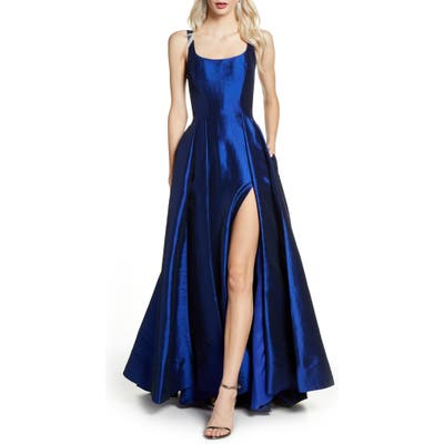 MAC Duggal Front Slit Ballgown With Train, Blue