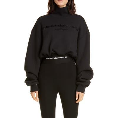 Alexander Wang Mock Neck Crop Sweatshirt, Black