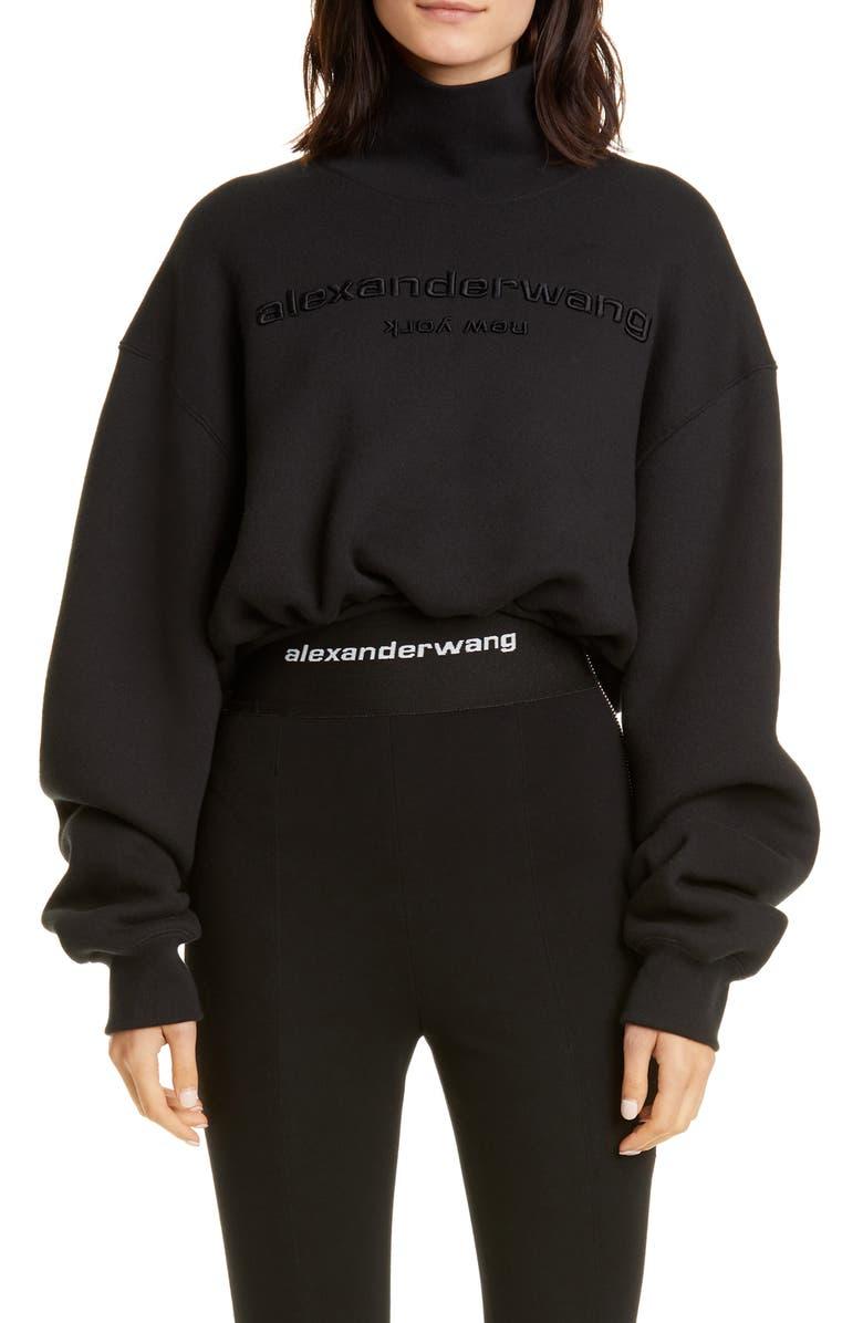ALEXANDER WANG Mock Neck Crop Sweatshirt, Main, color, 001
