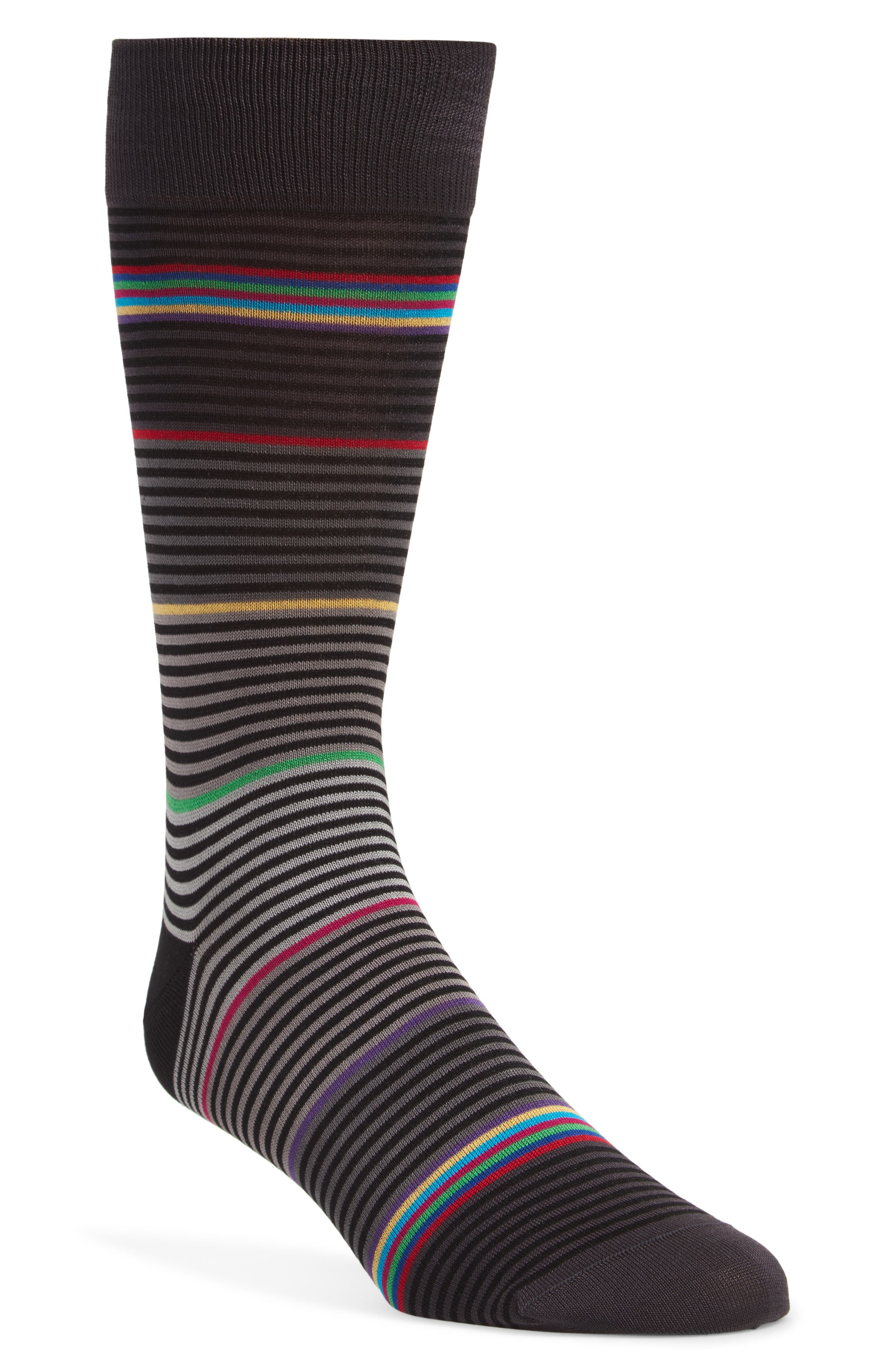 Richly colored stripes pattern cool socks knit from a mercerized cotton blend. Style Name: Bugatchi Stripe Socks. Style Number: 918599. Available in stores.