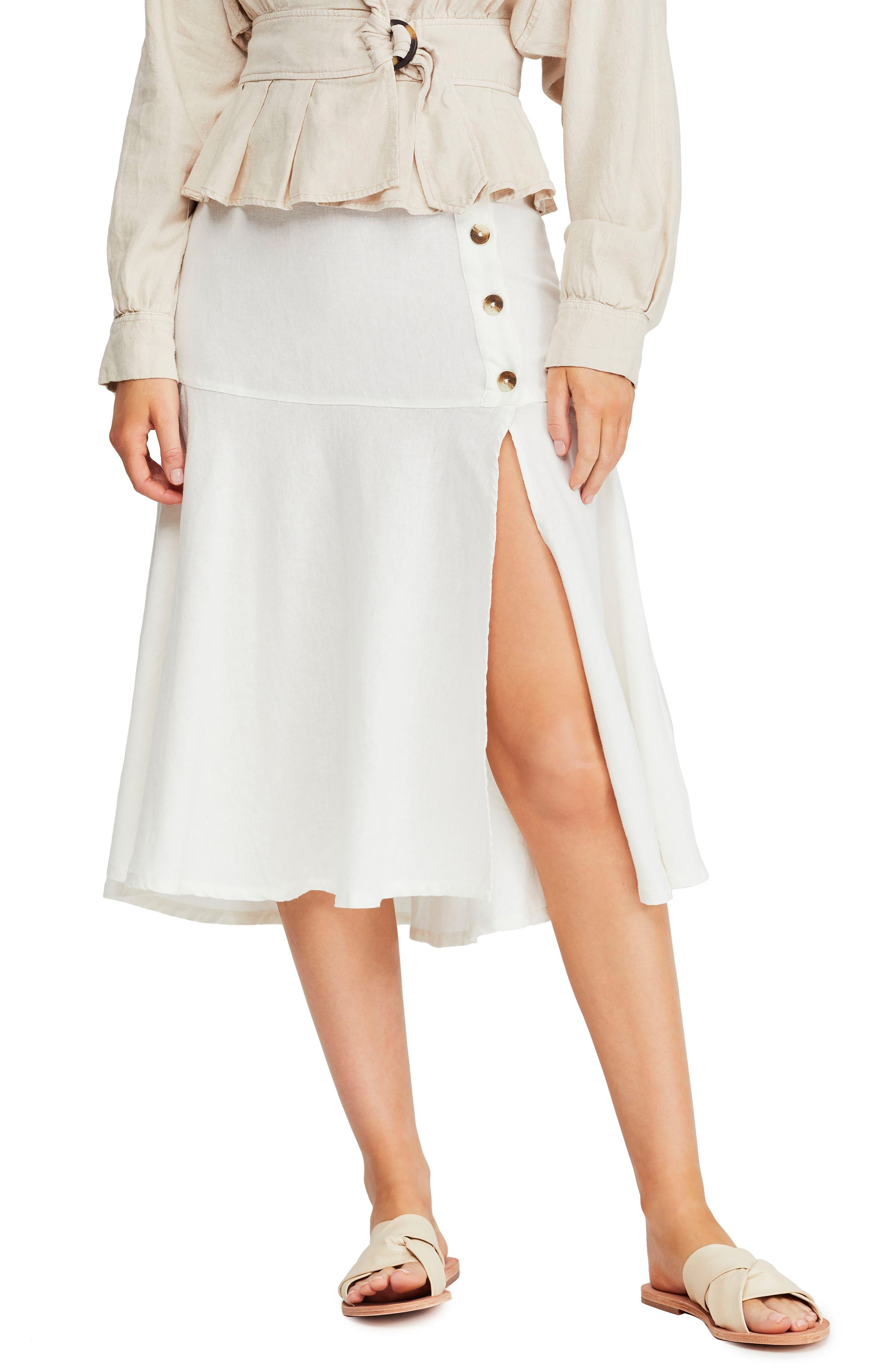 Image of Free People Poppy Flounce Linen Blend Midi Skirt