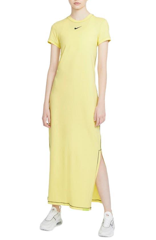 Nike Sportswear Icon Clash Women's Maxi Dress In Light Yellow/ Black