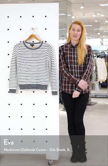 Pointelle Stripe Crewneck Sweater, sales video thumbnail