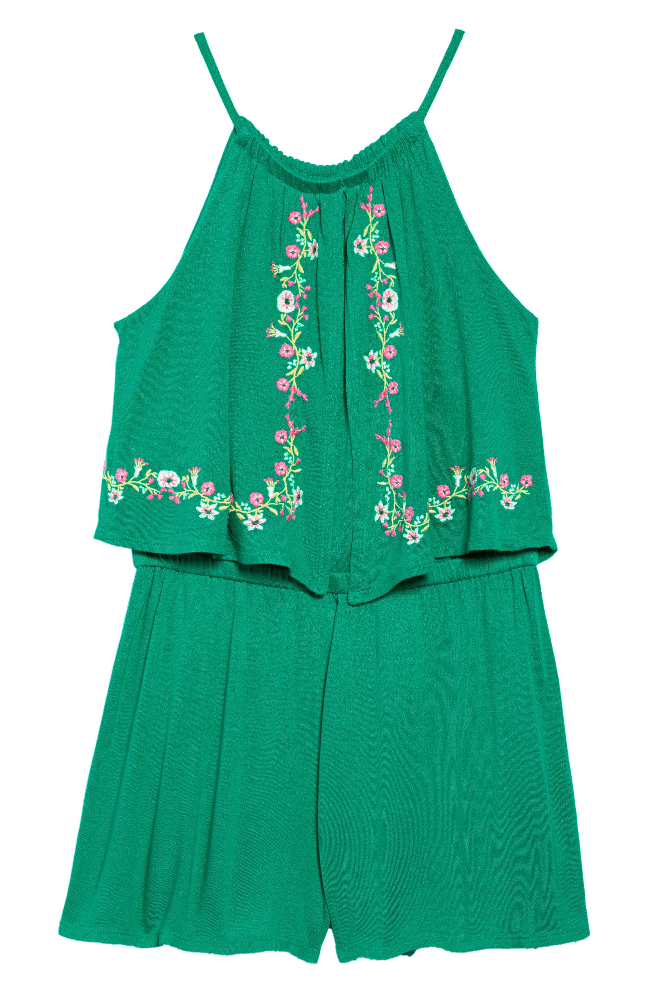 ,                             Look at Me Embroidered Romper,                             Main thumbnail 1, color,                             GREEN PARAKEET