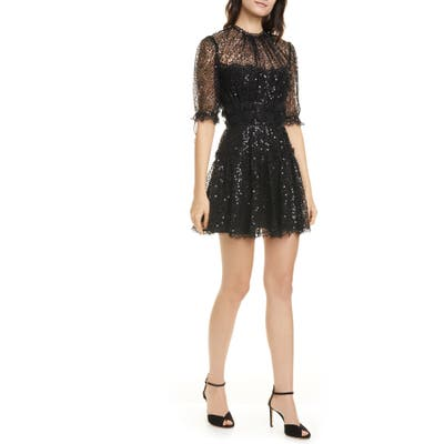 Jonathan Simkhai Sequin Lace Minidress, Black