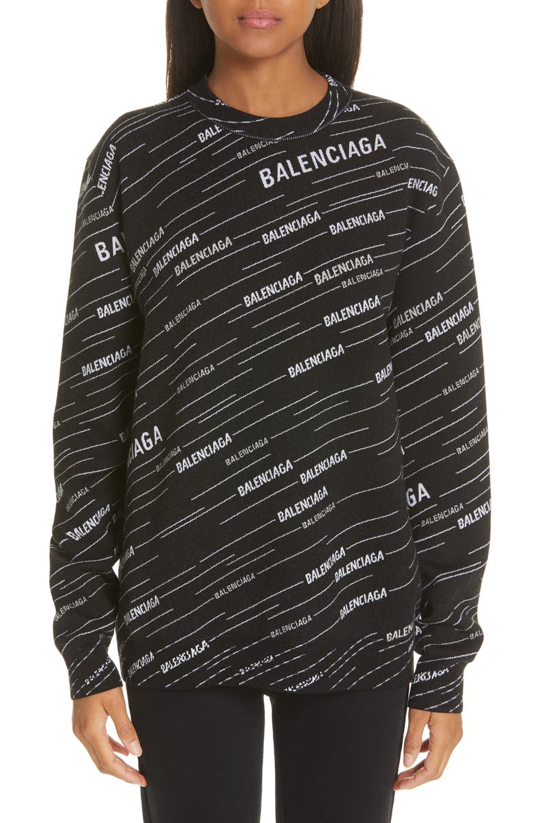 BALENCIAGA Logo Jacquard Wool Blend Sweater, Main, color, BLACK/ WHITE