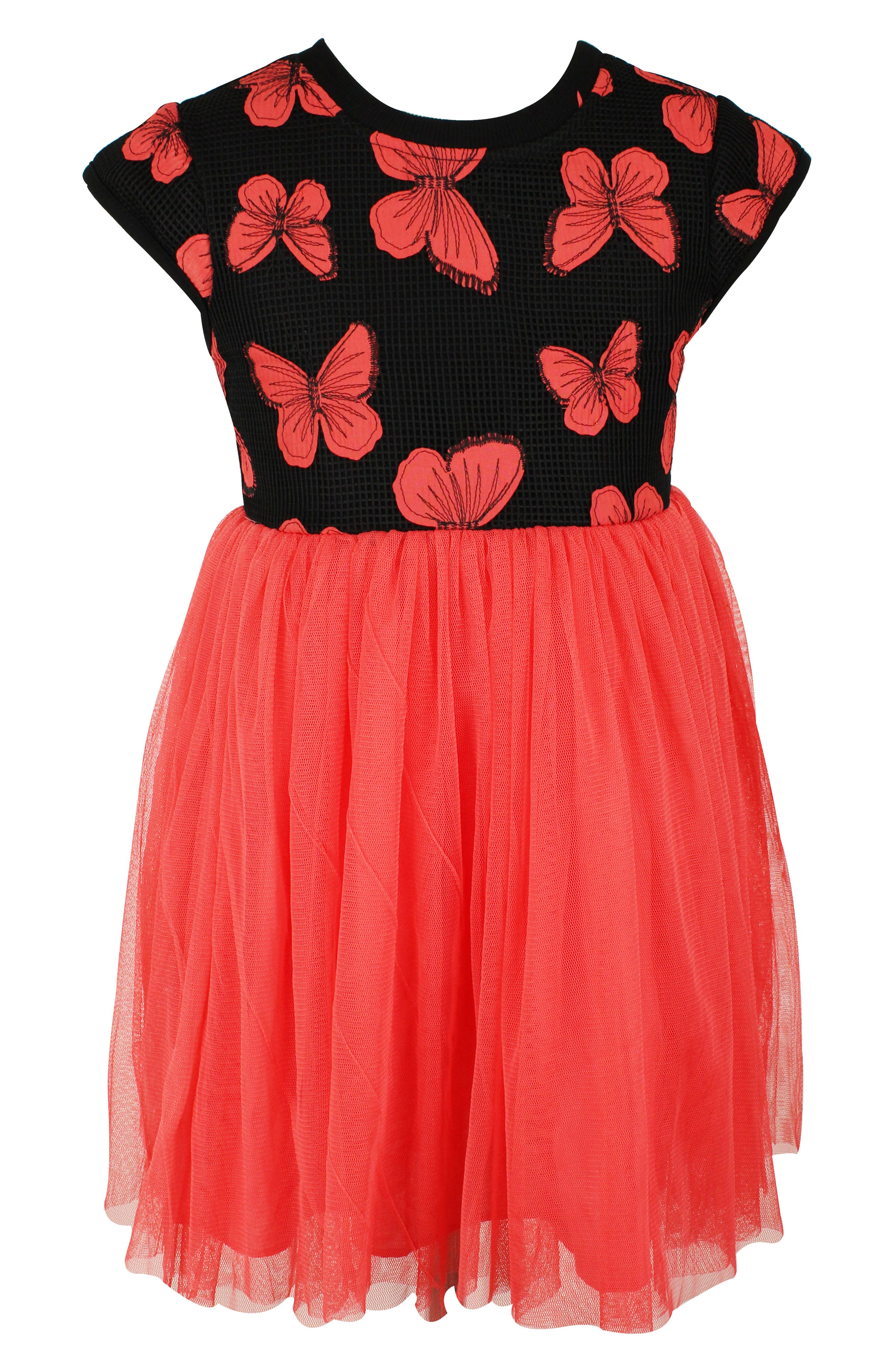 Butterfly Tutu Dress, Main, color, CORAL/ BLACK