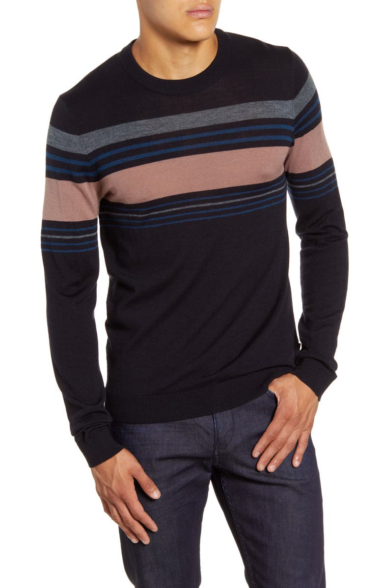 TED BAKER LONDON Swiftie Slim Fit Crewneck Sweater, Main, color, NAVY