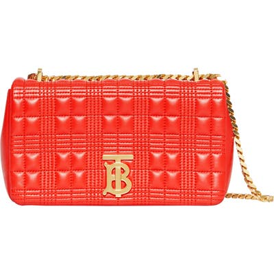 Burberry Small Lola Tb Quilted Check Leather Shoulder Bag - Red
