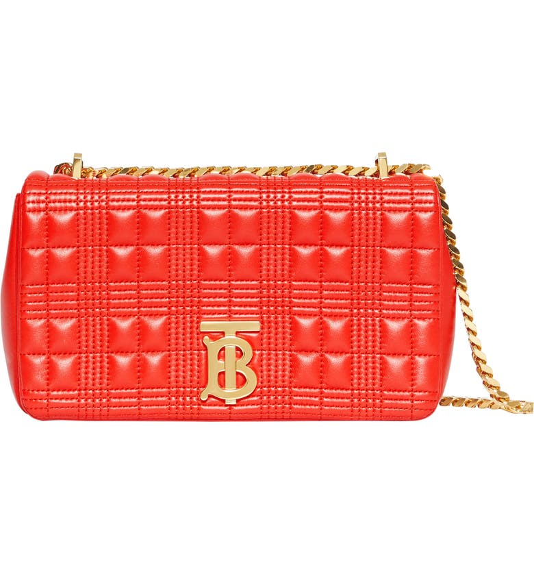 BURBERRY Small Lola TB Quilted Check Leather Shoulder Bag, Main, color, BRIGHT RED