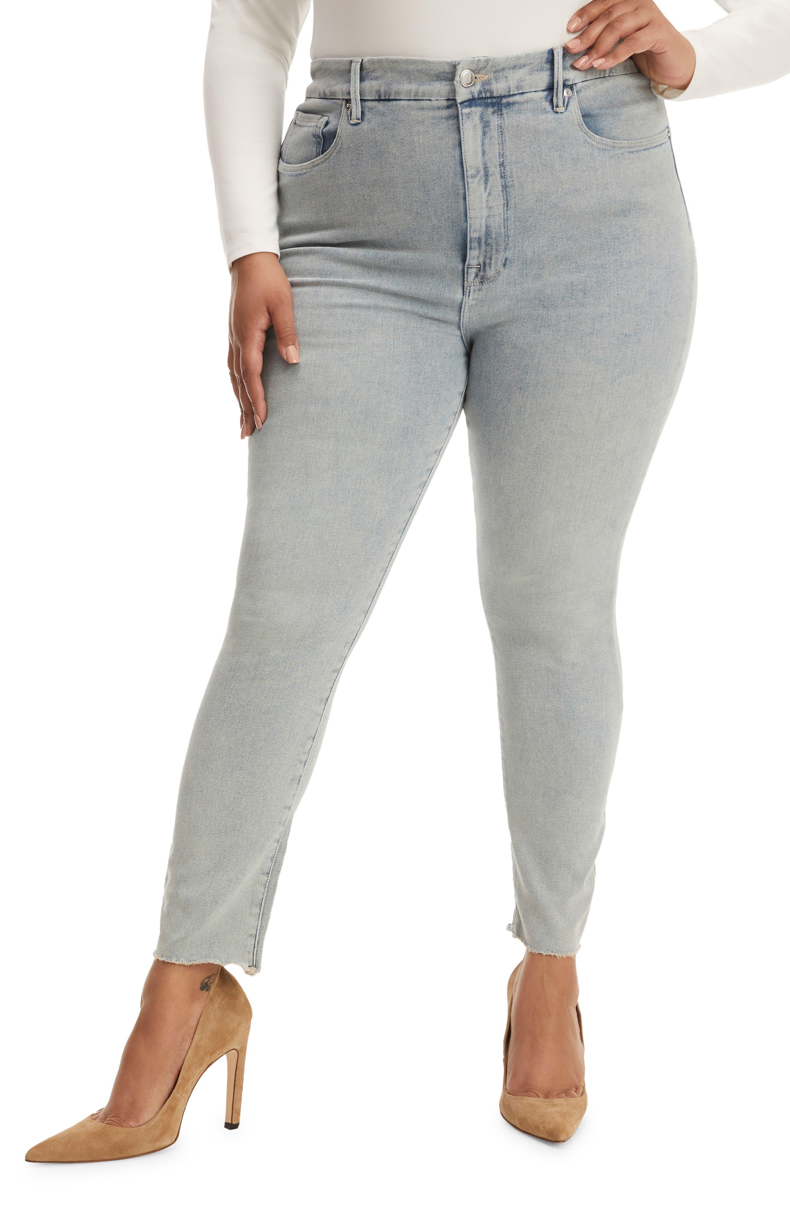 Women's Good American Good Legs Raw Edge Crop Skinny Jeans
