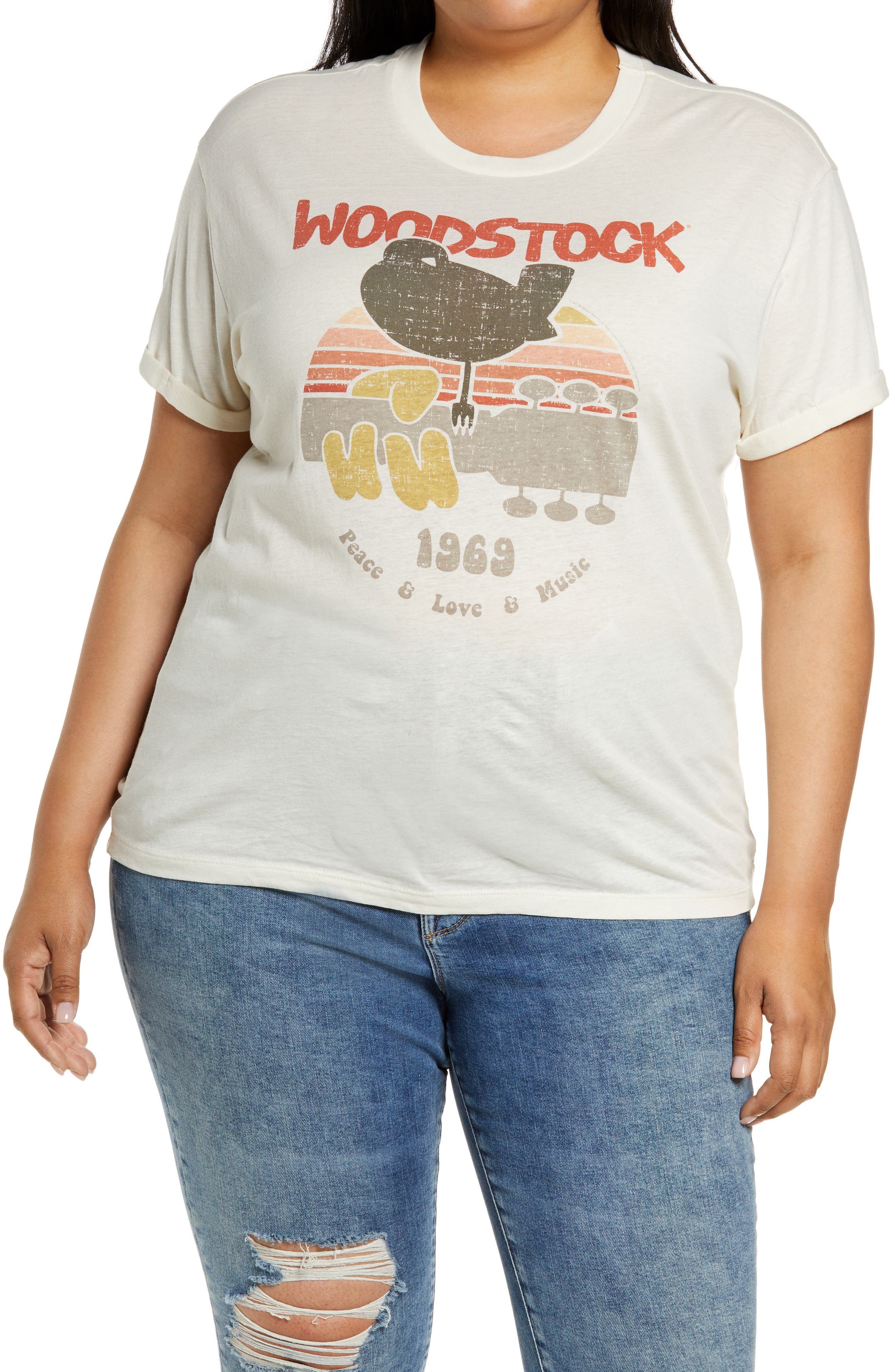 Woodstock Rolled Sleeve Jersey Graphic Tee