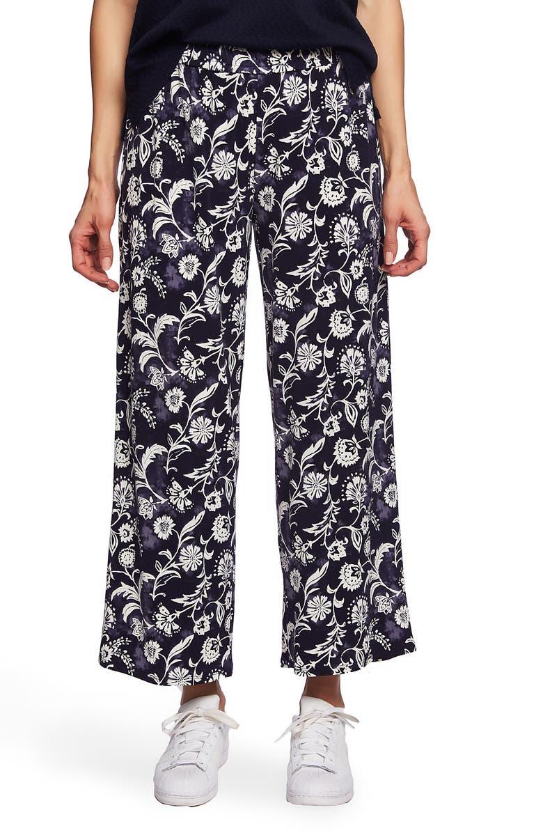 CHAUS Batik Floral Pants, Main, color, EVENING NAVY