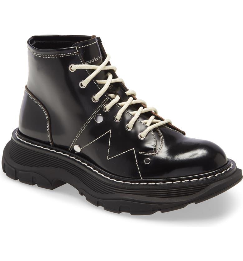 ALEXANDER MCQUEEN Lace-Up Lug Sole Hiker Boot, Main, color, BLACK