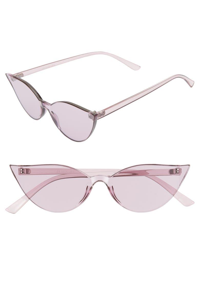 GLANCE EYEWEAR 64mm Oversize Transparent Cat Eye Sunglasses, Main, color, PURPLE