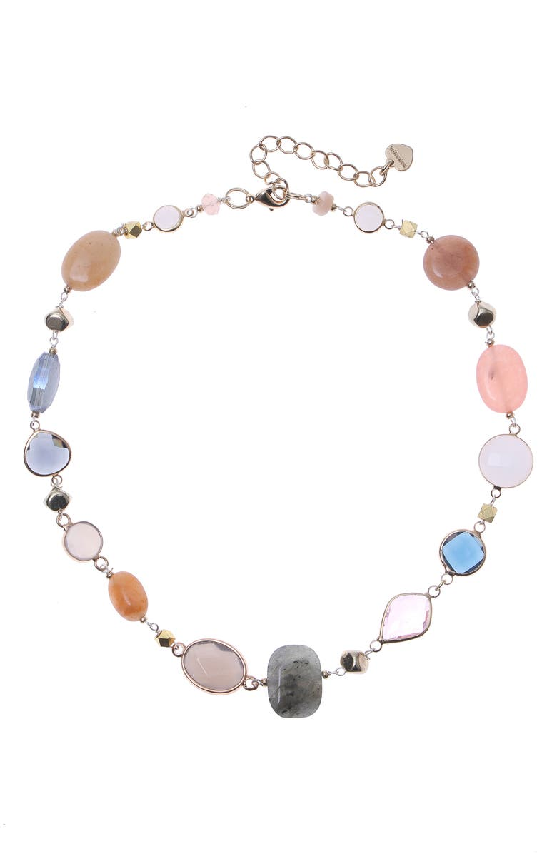 NAKAMOL CHICAGO Peach Mix Gemstone Necklace, Main, color, PEACH/ GOLD MIX