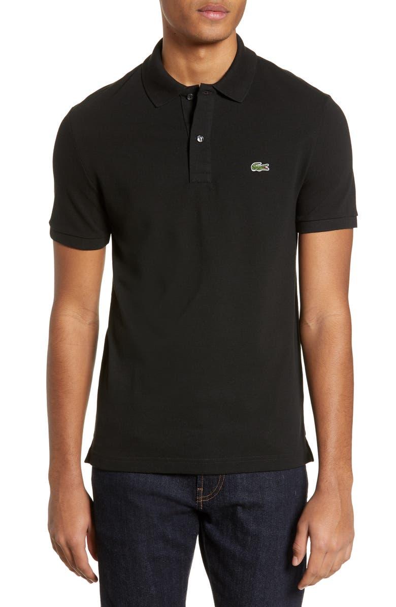 LACOSTE Slim Fit Piqué Polo, Main, color, BLACK