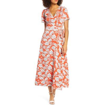 Chelsea28 Floral Print Faux Wrap Maxi Dress, Orange