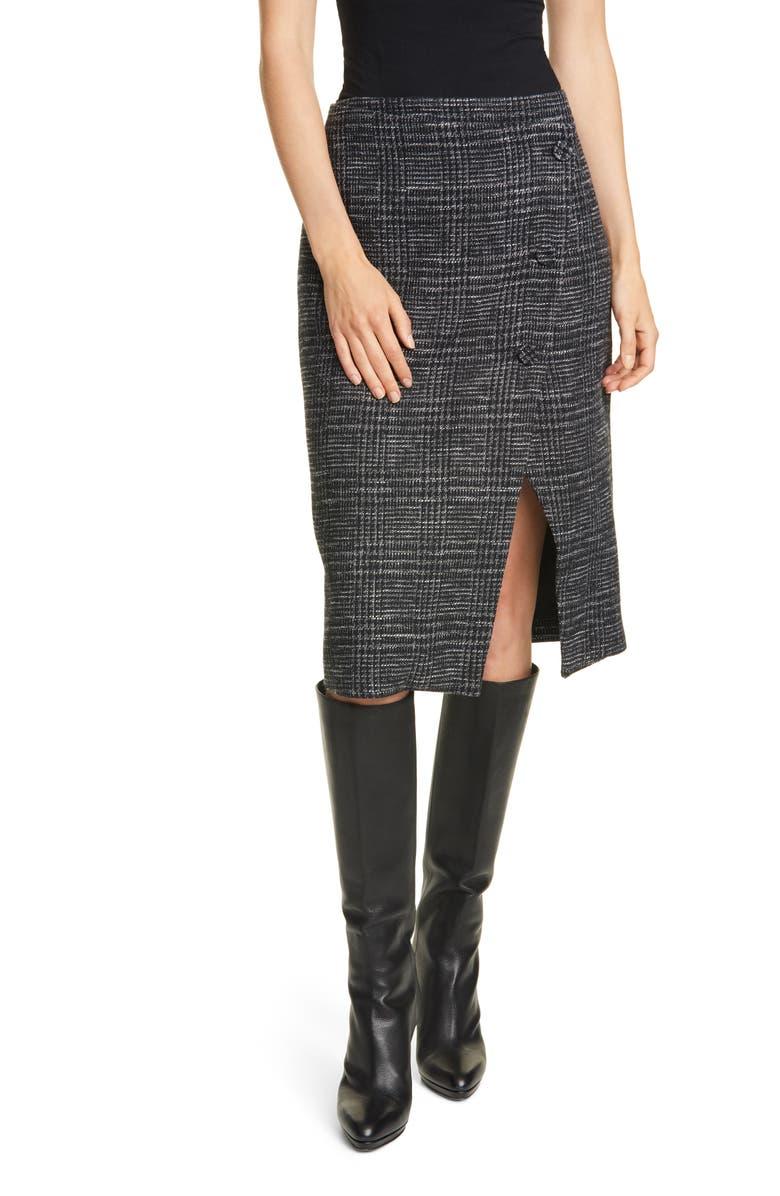 CLUB MONACO Plaid Cutaway Pencil Skirt, Main, color, 001