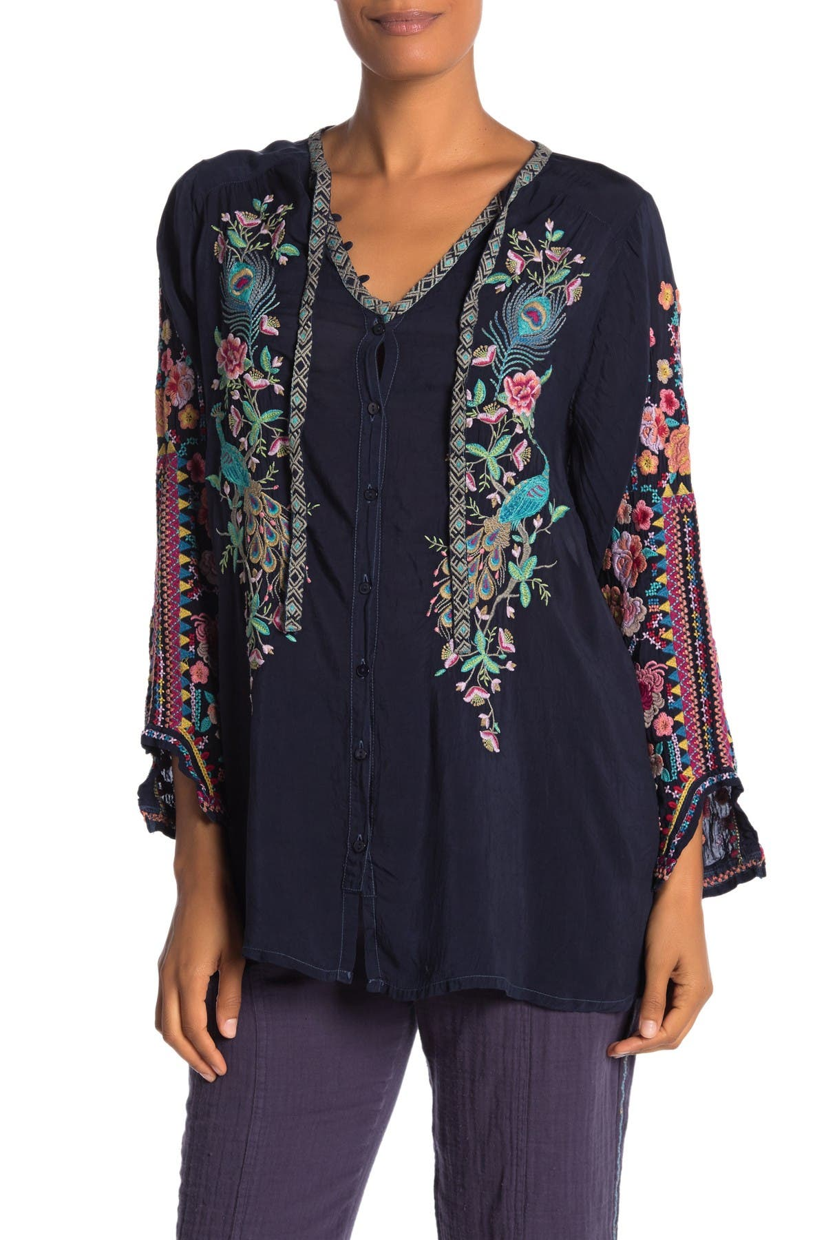 Image of Johnny Was Peacock Sable Embroidered Blouse